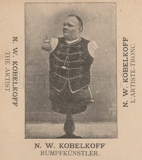 Nikolai kobelkoff, russian circus performer born without arms or legs