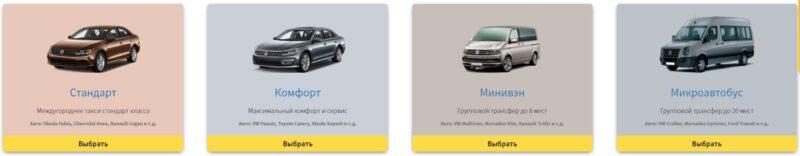 классы автомобилей такси