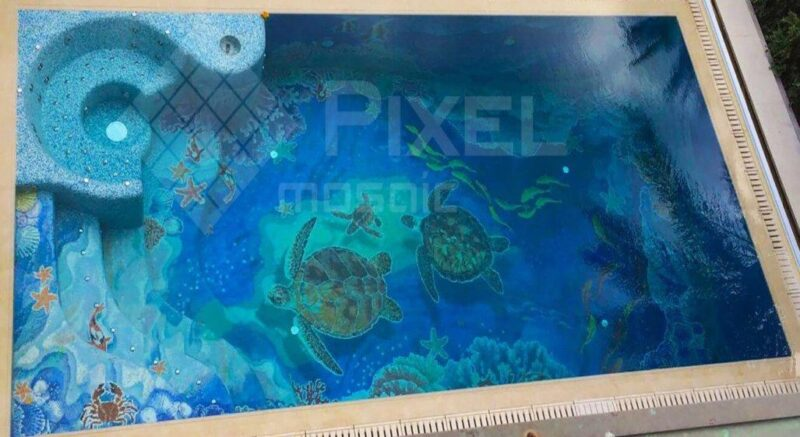 Панно из стеклянной мозаики в бассейн