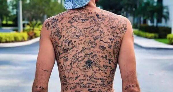 Распишитесь! Инфлюенсер установил мировой рекорд, нанеся на спину 225 тату-автографов