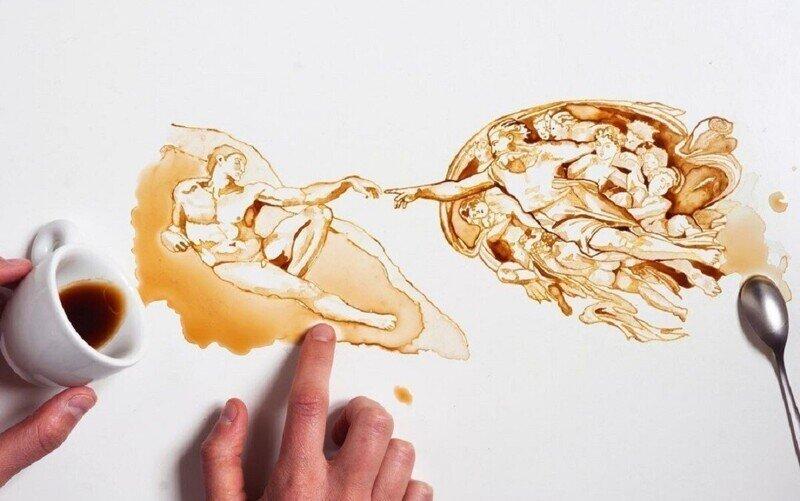 Итальянская художница Джулия Бернарделли превратила пролитый кофе в искусство